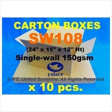 "SW108 MED CARTON BOX x 10pcs. PROMO 24"" x 15"" x 12"" Ht Packaging"