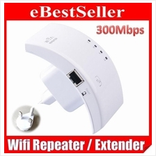 300Mbps Wireless-N WiFi Repeater Router Extender Booster 3Pin Plug