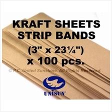 x100pcs LONG BROWN KRAFT PAPER SHEET BAND STRIP for Arts Craft Packing