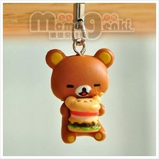 SAN-X Rilakkuma Bear Eat Hamburger/Mobile Phone chain_[RK-21]