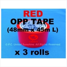 Standout RED OPP TAPE 48mm x 45m (50Y) L x 3 ROLLS Strong Fire Red!