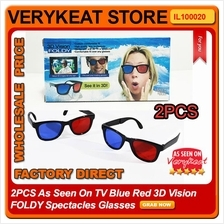 2PCS As Seen On TV Blue Red 3D Vision FOLDY Spectacles Glasses