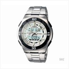 CASIO AQ-164WD-7AV Active Dial Ana-Digi steel bracelet watch white