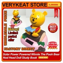Solar Power Powered Winnie The Pooh Bear Nod Head Doll Study Book