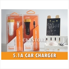 5.1A LONIO 3 USB Port Fast Car Charger Adapter FREE Lightning CABLE
