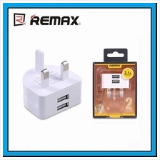REMAX 2.1A Fast Charging 2 USB UK Wall Travel Charger Adapter RMT7188