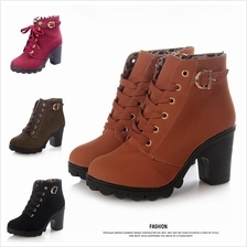 T004209 Fashion Thick Heels Women Ankle Martin Boots Stylish Shoes