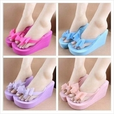 T004977 Lady Bow High-heeled Women Beach Slippers Stylish Sandals