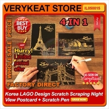 Korea LAGO Design Scratch Scraping Night View Postcard + Scratch Pen