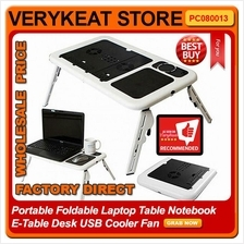 Portable Foldable Laptop Table Notebook E-Table Desk USB Cooler Fan