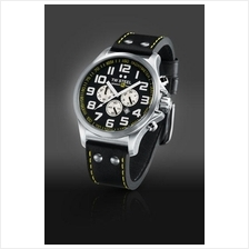 TW Steel TW673 RF1 Team Pilot 48mm Chrono Mineral 100M Leather Black