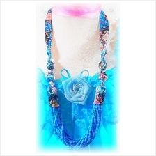 Fashion Handmade Korean Long Necklace Satin Flower Design & Small Bead