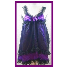 Sexy Purple Ribbon Satin & Front Lace Babydoll With Matching G-String