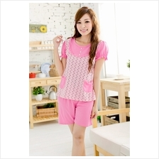 Sweet Love Shape Design Short Sleeve Pyjamas With Matching Short Pants