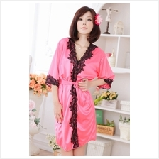 Lovely Pink Silk With Lace Design Robe (Without Accessories)