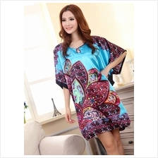 Appealing Exotic  & Flowery Design Sleeves Dress Pyjamas