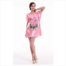Appealing Pink With Flowery Pattern Design Sleeves Dress Pyjamas