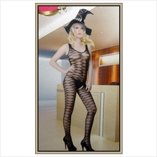 Sexy Black Open Crotch Fishnet Bodystocking With Exotic Design