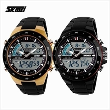 SKMEI 1016 Men's Dual Time Display LED Black Rubber Strap Watch