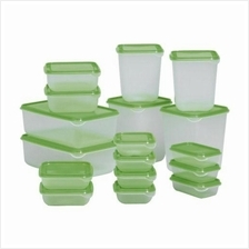 IKEA - 17 Pieces Transparent Food Container with All Size - Green