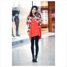 Fashion Floral Design Batwing Tunic Dress