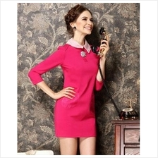 Trendy Collared Slim Dress With Pockets