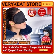 3 In 1 Inflatable Travel U Shape Neck Pillow with Eyepatch and Earplug