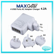 MAXGear 4 USB 4.2A AC Universal Travel Wall Adapter Charger LED Plug