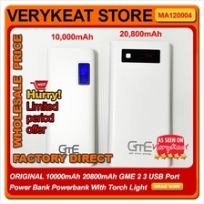 10000mAh 20800mAh GME 2 3 USB Port Power Bank Powerbank W Torch Light