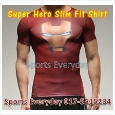 Super Hero Slim Body Fit Compression Shirt baju - Iron Man 5(elastic)