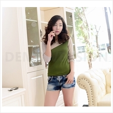 Trendy Two-Tone Lady Casual Long Sleeve Top