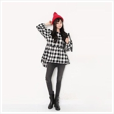 Trendy Plaid Design Lady Waist String Long Sleeve Top