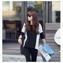 Trendy Black And White Batwing Casual Top