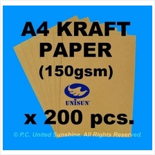 x200pcs A4 BROWN KRAFT PAPER (150gsm) for Design Printing Arts & Craft