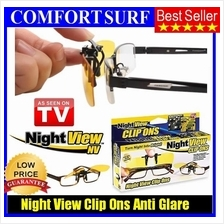 Night View Clip Ons Glasses Lens - Reduce Glare, Car Driving Spec