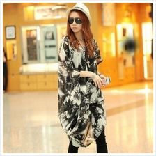 Trendy Oversize Batwing Chiffon Long Top