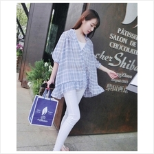Trendy Ruffles Design Plaid Design Short Sleeve Top