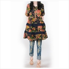 Fashion Flax Commoner Floral Design Casual Short Sleeve Dress