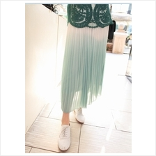 Fashion Gradient Color Pleated Chiffon Skirt