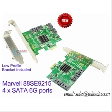SATA III 4-port PCI-e Controller Card High/Low Profile Bracket Marvell 88SE921