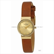 SKAGEN SKW2175 Women's Freja Mini Classic Glitz Leather Gold Brown
