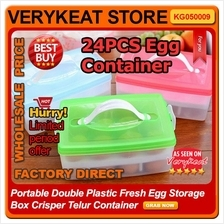Portable Double Plastic Fresh Egg Storage Box Crisper Telur Container