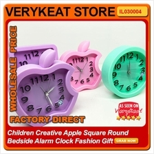 Children Creative Apple Square Round Bedside Alarm Clock Fashion Gift