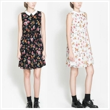 Floral Flower Peter Pan Collar Dress Lady Office Casual Wear for Women