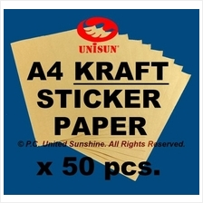 x 50pcs A4 BROWN KRAFT STICKER PAPER Fun Printing Labels Arts & Craft