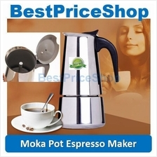 Stainless Steel Stovetop Moka Pot Espresso Coffee Maker Latte Art Bean