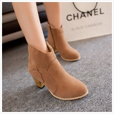 MT005017 England Thick High-heeled Ankle Martin Boots Shoe