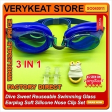 Dive Sweet Reuseable Swimming Glass Earplug Soft Silicone Nose Clip
