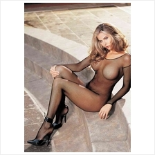 Sexy Black Long Sleeve & Open Crotch Fishnet Bodystocking