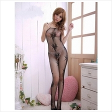 Sexy Black Fishnet Bodystocking Open Crotch & Floral Design